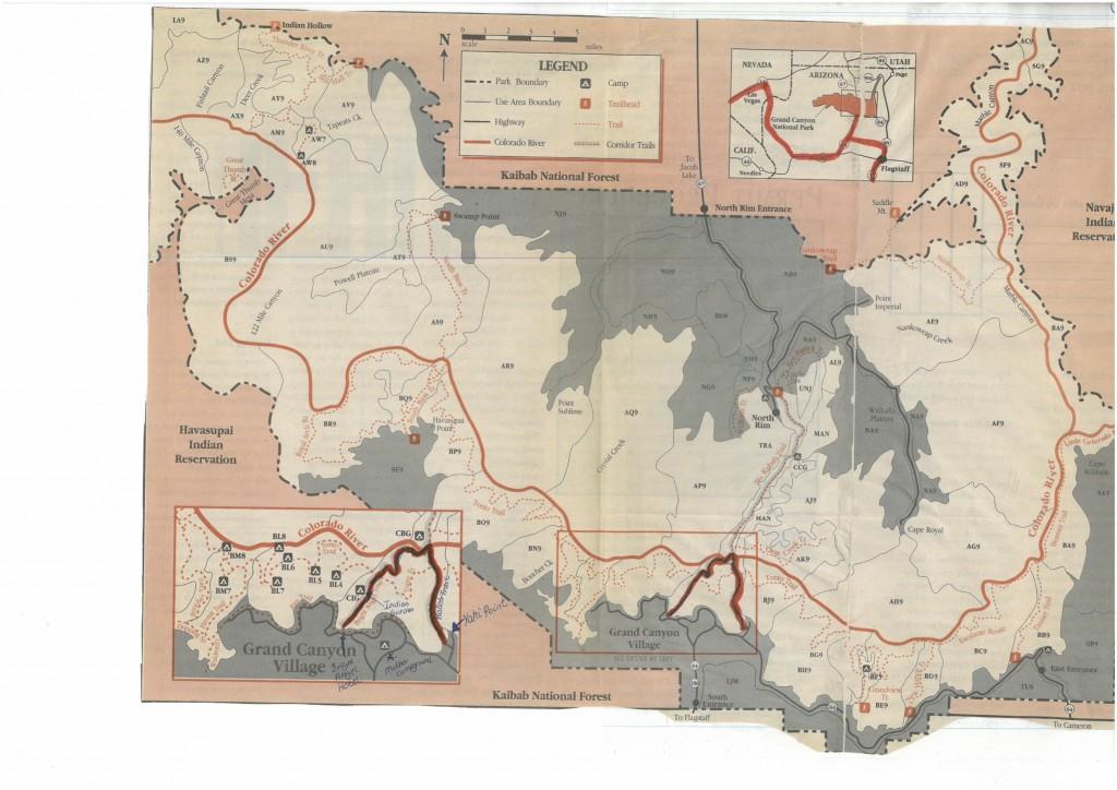 Oversigtskort af Grand Canyon med dagens rute i bunden af kortet på denne fantastiske kløft.